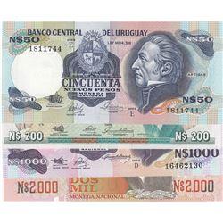 Uruguay, 50 Pesos, 200 Pesos, 1.000 Pesos and 2.000 Pesos, 1986/1992, UNC, p61, p66, p64a, p68, (Tot