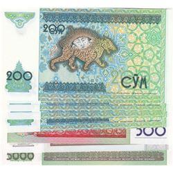 Uzbekistan, 200 Sum (5), 500 Sum, 1000 Sum and 5000 Sum, 1997/2013, UNC, (Total 8 banknotes)br/