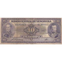 Venezuela, 10 Bolivares, 1945, FINE, p31abr/serial number: A1201813
