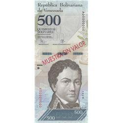 Venezuela, 500 Bolivares, 2016, UNC, p95, SPECIMENbr/serial number: A0000000