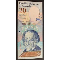 Venezuela, 20 Bolivares (10), 2018, UNC, pNew, (Total 10 consecutive banknotes)br/serial numbers: A