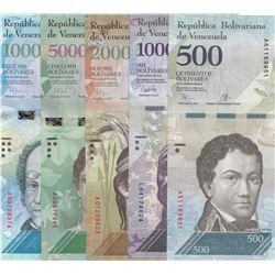 Venezuela, 500 Bolivares, 1.000 Bolivares, 2.000 Bolivares, 5.000 Bolivares and 10.000 Bolivares, 20