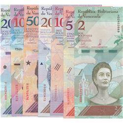 Venezuela, 2 Bolivares, 5 Bolivares, 10 Bolivares, 20 Bolivares, 50 Bolivares, 100 Bolivares and 200
