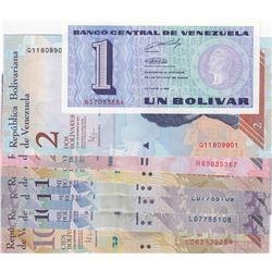 Venezuela, 1 Bolivar, 2 Bolivares, 20 Bolivares, 100 Bolivares (2) and 1000 Bolivares (3), 1989/2017