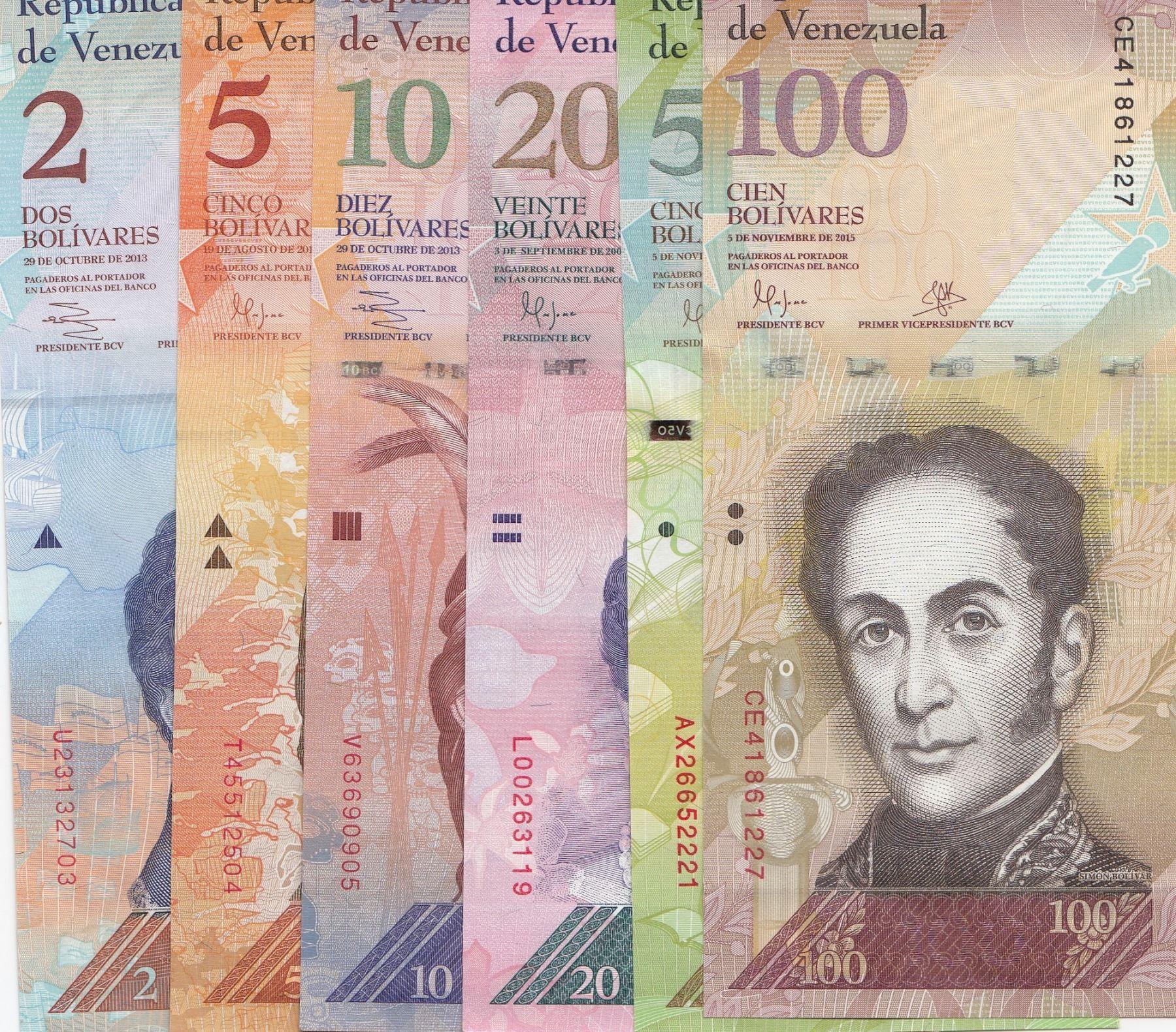 Lot of 5 Bank Notes from Venezuela 50 Bolivares