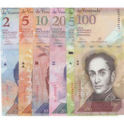 Venezuela, 2 Bolivares, 5 Bolivares, 10 Bolivares, 20 Bolivares, 50 Bolivares, and 100 Bolivares, 20