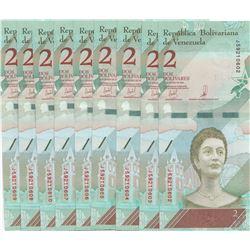 Venezuela, 2 Bolivares (9), 2018, UNC, (Total 9 banknotes)br/serial numbers: J 59210602-10