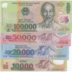 Vietnam, 10.00 Dong, 20.000 Dong, 50.000 Dong and 100.000 Dong, 2006/2012, UNC, p119, p120, p121, p1
