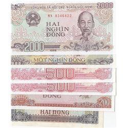 Vietnam, 2 Dong,200 Dong, 500 Dong (2), 1000 Dong and 2000 Dong, 1980/1988, UNC, (Total 6 banknots)b