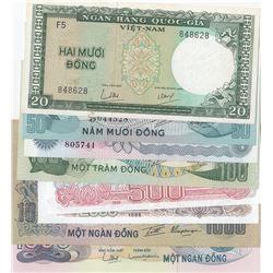 Vietnam, 20 Dong, 50 Dong (2), 100 Dong, 500 Dong, 1000 Dong (2) and 2000 Dong, 1985/1991, UNC, (Tot