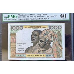 West African States, Ivory Coast, 1.000 Francs, 1959-65, XF, P103a1br/PMG 40, serial number: A.163/1