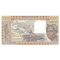West African States, 1.000 Francs, 1985, UNC, p107Afbr/Ivory Coast, serial number: 145799/L.010