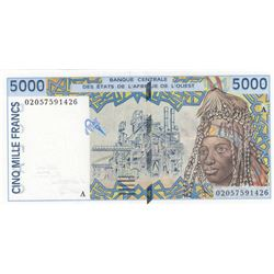 West African States, 5.000 Francs, 2002, UNC, p113Albr/Ivory Coast, serial number: 02057591426