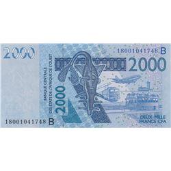 West African States, Benin, 2.000 Francs, 2018, UNC, P216bbr/serial number: 18001041748