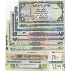 Yemen, 1 Rial (2), 10 Rials, 20 Rials (2), 50 Rials (2), 200 Rials, 250 Rials, 500 Rials and 1000 Ri