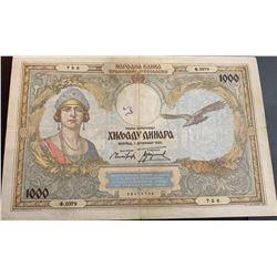 Yugoslavia, 1.000 Dinara, 1931, XF, p29br/serial number: 0379/756