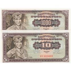 Yugoslavia, 10 Dinara ve 1.000 Dinara, 1963/1965, p75, p78, (Total 2 banknotes)br/