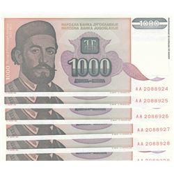 Yugoslavia, 1000 Dinara, 1994, UNC, p140, (Total 6 consecutive banknotes)br/serial numbers: AA 20889