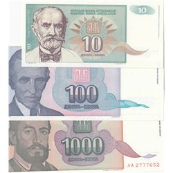 Yugoslavia, 10 Dinara, 100 Dinara, 1.000 Dinara, 1994, UNC, p138, p139, p140, (Total 3 banknotes)br/