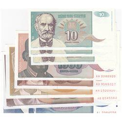 Yugoslavia, 10 Dinara (3), 100 Dinara, 500 Dinara, 1000 Dinara (2) and 10000 Dinara, 1990/1994, UNC,