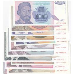 Yugoslavia, 10.000 Dinara, 50.000 Dinara, 100.000 Dinara, 1.000.000 Dinara, 5.000.000 Dinara, 10.000