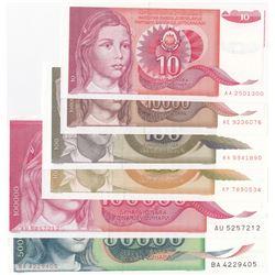 Yugoslavia, 10 Dinara, 100 Dinara (2), 10.000 Dinara, 50.000 Dinara and 100.000 Dinara, 1988/1991, U