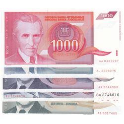 Yugoslavia, 1.000 Dinara (2), 5.000 Dinara (2) and 10.000.000 Dinara, 1985/1993, UNC, (Total 5 bankn