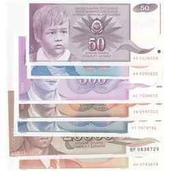 Yugoslavia, 50 Dinara, 500 Dinara (3), 5.000 Dinara (2) and 20.000 Dinara, 1987/1994, UNC, (Total 7