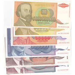 Yugoslavia, 1.000 Dinara, 50.000 Dinara, 500.000 Dinara, 5.000.000 Dinara and 5.000.000.000 Dinara,