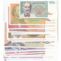 Yugoslavia, 10 Dinara (2), 50 Dinara, 100 Dinara (3), 500 Dinara (3), 100 Dinara (2), 5000 Dinara (2