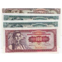 Yugoslavia, 5 Dinara, 100 Dinara, 500 Dinara and 1000 Dinara, 1955/1965, UNC, (Total 4 banknotes)br/