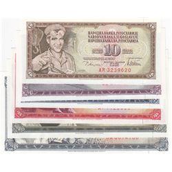 Yugoslavia, 10 Dinara, 20 Dinara, 50 Dinara, 100 Dinara, 500 Dinara and 1000 Dinara, 1965/1986, UNC,