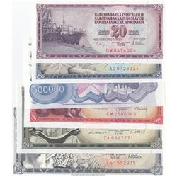 Yugoslavia, 20 Dinara, 50 Dinara, 100 Dinara, 500 Dinara, 1.000 Dinara and 500.000 Dinara, 1968/1989