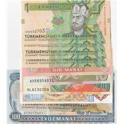 Mix Lot, 10 banknotes in whole UNC conditionbr/Turkmenistan, 1 Manat (5), Turkmenistan, 5 Manats, Tu