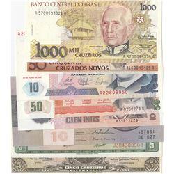 Mix Lot, 8 banknotes in whole UNC conditionbr/Peru, 5 De Oro, Peru, 10 Intis, Peru, 50 Intis, Peru,