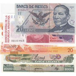 Mix Lot, 5 banknotes in whole UNC conditionbr/Pilipinas, 20 Pisos, Ecuador, 1000 Sucres, Costa Rica,