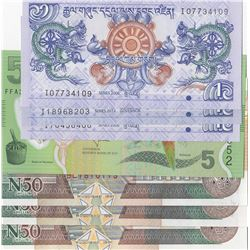 Mix Lot, 7 banknotes in whole UNC conditionbr/Fiji, 5 Dollars, Bhutan, 1 Ngultrumi (3), Somalia, 50