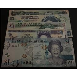 Mix Lot, 5 banknotes in whole UNC conditionbr/Bahamas, 50 Cents, Bahamas, 1 Dollar, Eastern Caribbea