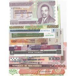 Mix Lot, 10 banknotes in whole UNC conditionbr/Burundi, 100 Francs, Guinee, 500 Francs, Madagasikara