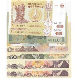 Mix Lot, 8 banknotes in whole UNC conditionbr/Serbia, 10 Dinara, Romania, 1 Leu, Moldova, 1 Leu (2),