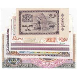 Mix Lot, 6 banknotes in whole UNC conditionbr/Greece, 200 Drahmai, Korean, 100 Won, Laos, 500 Kip, B