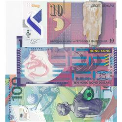 Mix Lot,  3 polymer banknotes from different countriesbr/Russi, 100 Ruble, 2018, Unc; Hong Kong, 10