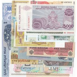 Mix Lot, A total of 13 lots of different UNC banknotesbr/Poland, 10 Zlotych, 1994; Litvania, 1 Ruble