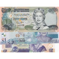 "Mix Lot, Total 3 pieces, in UNC condition, ""Queen Elizabeth II"" banknotebr/Bahamas, 1/2 Dollar, 2001"
