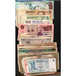 Mix Lot, 40 banknotes belonging to 18 different countries between POOR condition and UNC conditionbr