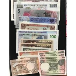 Mix Lot, Total  20 UNC banknotesbr/Maldives, 5 Rufiyaa, 2018; Libya, 1 Dinar, 2018; India, 1 Rupee (