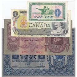 Mix Lot, 4 banknotes from different countriesbr/Albania, 1 Lek, 1976, xf; Canada, 1 Dollar, 1973, Un