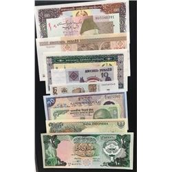 Mix Lot, 10 different banknotes in UNC conditionbr/Kuwait 10 Dinars, Indonesia 500 Rupiah, India 5 R
