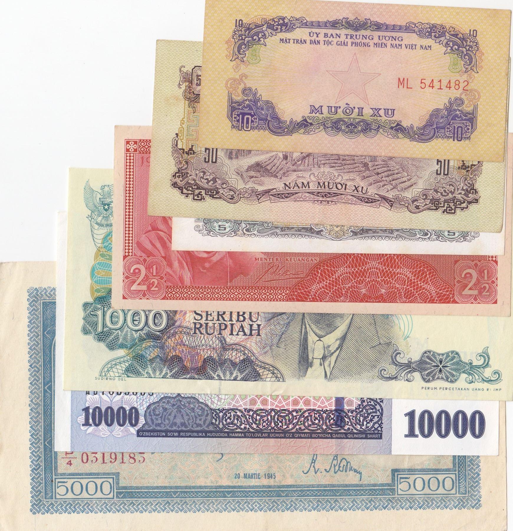 Mix Lot 7 Different Banknotes In Aunc Unc Conditionbr Romania 5 000 Lei Vietnam 10 Hao Vietnam 5