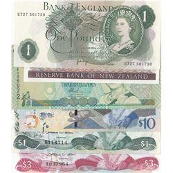 "Mix lot, Total 6 ""QUEEN ELIZABETH II"" banknotes lotbr/Great Britain, 1 Pound, 1970, Unc; New Zealand"